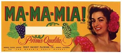 MA-MA-MIA Brand, Reedley Grapes, Girl, Roses **AN ORIGINAL PRODUCE CRATE LABEL**