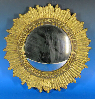 Antique Gilt Wood Sunburst Convex Hanging Wall Mirror Goddard Bros MA Label yqz