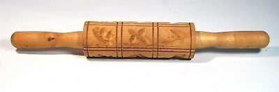 Vintage Traditional Wood Springerle Cookie Dough Embossed Rolling Pin Owl Birds