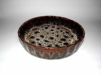 Vintage Cornish Fosters Pottery, Brown Honeycomb Pattern Flan Dish