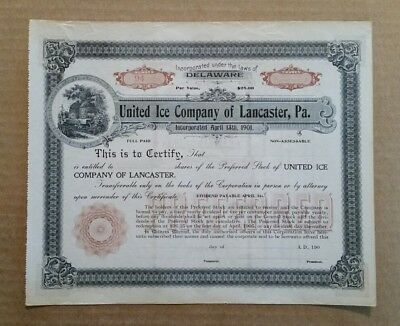 United Ice Co.of Lancaster,Pa.,Stock Certificate,1900's