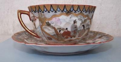 Antique Japanese Kutani Porcelain Teacup Saucer 6 Characater Mark a.f.