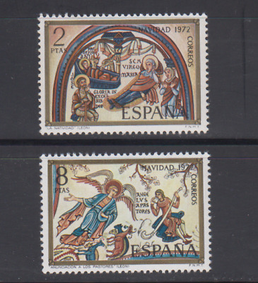 Spain (1972) Series Full Edifil 2115/16 New Free Stamp Hinges Mnh Navidad