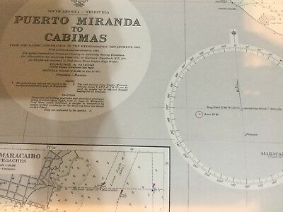 Genuine 60s Vintage Nautical Chart Venezuela South America