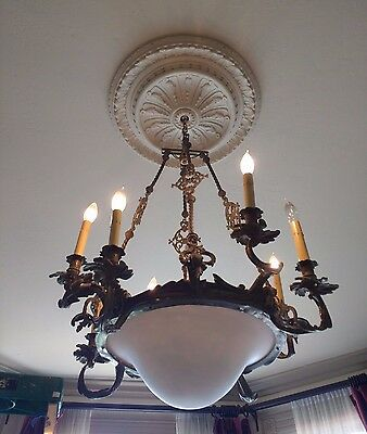 Antique 1890s large bronze chandelier-8 lights- rewired- STUNNING