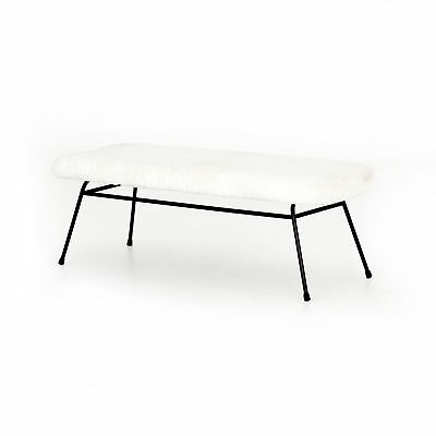 "48"" Benedetto Small Bench Iron 100% Polyester Waxed Black Ivory Angora Contempo"
