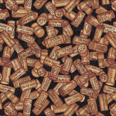 Wine Corks on Black Champagne Chateau Quilting Fabric  FQ or Metre *New*