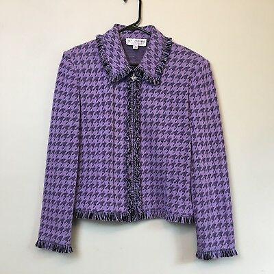 St John Collection Marie Gray Sz 14 Purple Houndstooth Knit Jacket Zipper Fringe