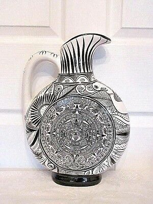 Vintage Mexican Orange/red Clay Hand Painted Aztec Calendar Ewer/vase
