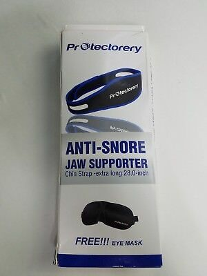 anti snore jaw supporter chin strap XL 28 in protectotery brand black blue trim