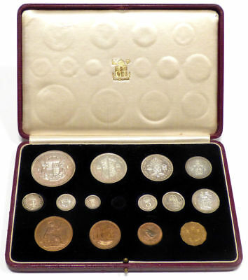 1937 Great Britain 14 Coin King George VI Coronation Specimen Set w/ Box
