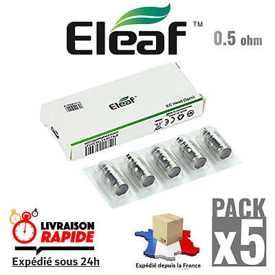 Pack 5 Coils Résistances 0.5 ohm EC Head ELEAF Melo 3-2-1 / Atlantis / Lemo 3