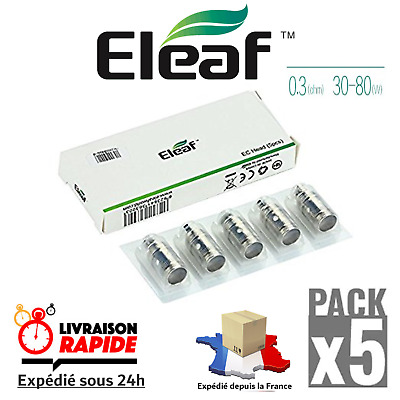 Pack 5 Coils Résistances 0.3 ohm EC Head ELEAF Melo 3-2-1 / Atlantis / Lemo 3