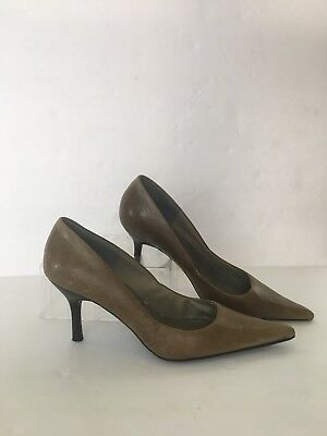 ec65482a34b STEVE MADDEN Taupe Leather Pointed Toe Pump Shoes Size 8 M Heeled 3
