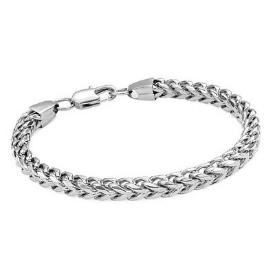 Heavy Stainless Steel Curb Wheat Chain Link Bracelet Womens Bangle Silver Gift