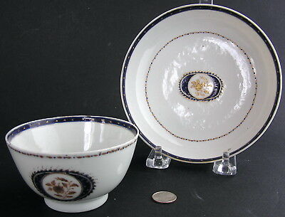 Antique 18th/19th Century Chinese Export Porcelain Handleless Cup Teacup Saucer