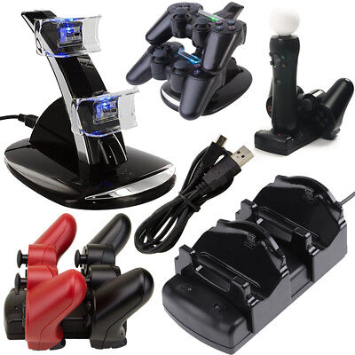 Fr Playstation3 PS3 Move Dual Controller Charger LED Charging Dock Station Stand