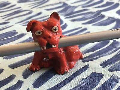"Antique 1920s RED Cast Iron French Bulldog Mini Pencil Holder 2"" W X 2"" H"