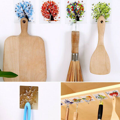 4Pcs Door Bathroom Kitchen Hanger Self Adhesive Hooks Stick On Wall Hanging Hook