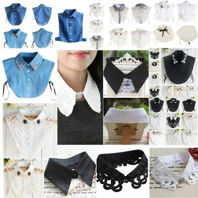 US Women Detachable False Collar Peter Pan Shirt Lapel Choker Necklace Collars
