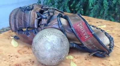 old MAXIMA Japan BASEBALL GLOVE leather MELBOURNE with BALL pro model