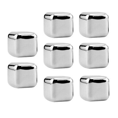 8x Stainless Ice Cold Milled Soapstone Whiskey Whisky Stone Cubes with Tongs