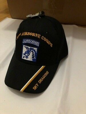 """US ARMY 18th AIRBORNE CORPS """"SKY DRAGONS"""" BALL CAP MILITARY HAT BIN 1"""