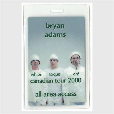 Bryan Adams authentic 2000 concert Laminated Backstage Pass Canadian Tour AA