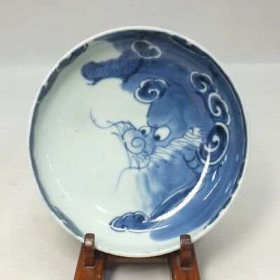 A845: Real old Japanese IMARI blue-and-white porcelain plate with popular dragon