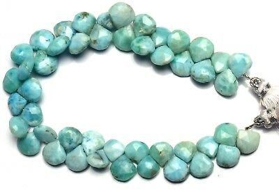 Natural Gem Larimar Super Quality Faceted 10MM Approx. Heart Shape Briolettes 8""