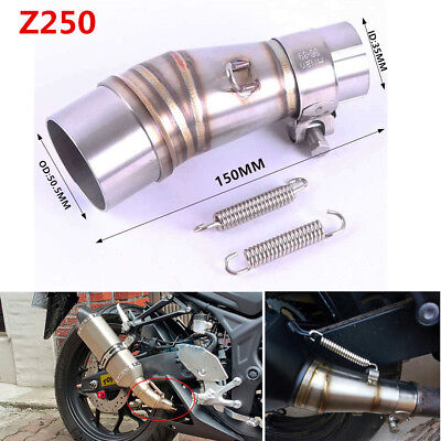 Motorcycle Exhaust Middle Pipe Link Stainless Steel Muffler Mid Section Adapter
