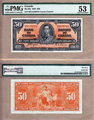 PMG AU53 1937 $50 KGVI Bank of Canada; Coyne & Towers BC-26c