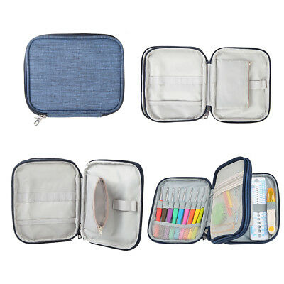 Double-deck Hooks Case Knitting Needles Accessories Zipper Crochet Storage Bag