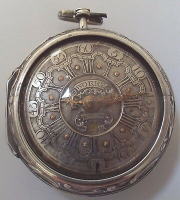 Rare Oignon Silver Champleve Dial+Date Repousse Case Watch Verge Fusee Working