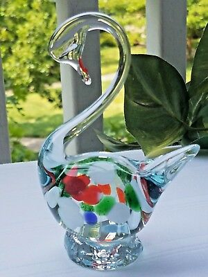 """Beautiful Vintage Hand Blown Multi-Colored Cased Art Glass  Swan 4 3/4""""H"""