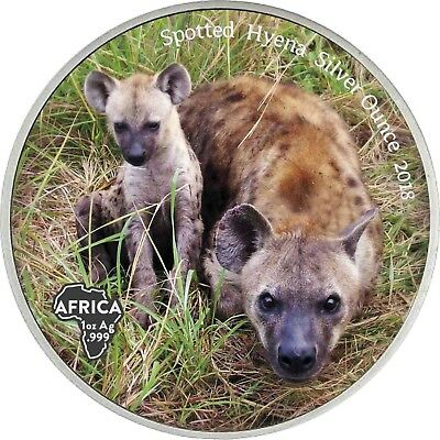 SPOTTED HYENA SILVER OUNCE 2018 Congo 1000 Francs antique finish Coloured Coin