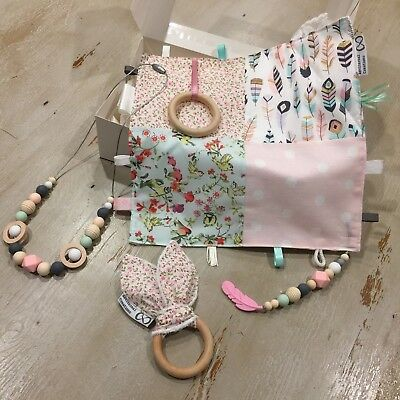 Baby Girl Gift Box 3pc Set, Quality Hand Made, Taggie, Teether, Nursing Necklace