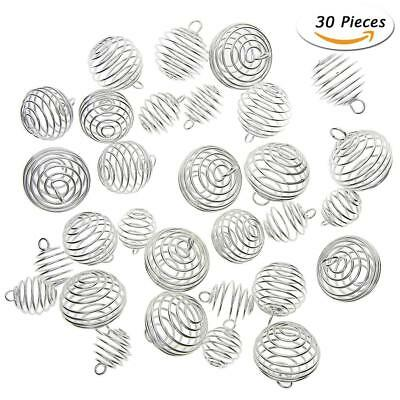 30Pcs Silver Plated Spiral Bead Cages Pendants for Jewelry Craft Making Hot