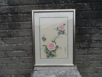 Vintage Old Chinese / Japanese Painting - Asian original floral art - Flowers