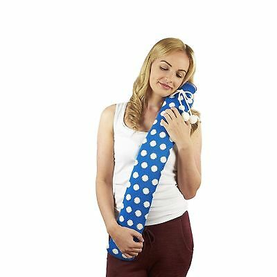 Intelex Extra Long PVC Hot Water Bottle Blue Polka Dot Knit Cover Gift Boxed