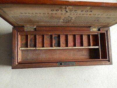 Vintage artist's wooden palette/paint box Awarded by the Dept of Science and Art