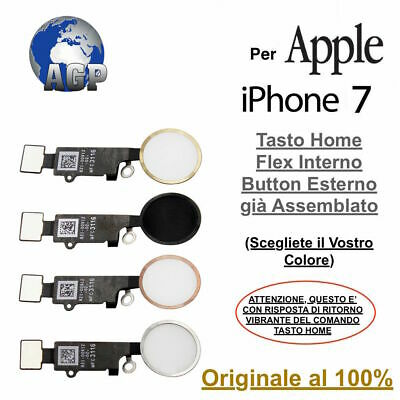 Tasto Home Button Flex Apple per iPhone 7 Nero Bianco Silver Gold Rosè ORIGINALE