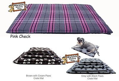 Dog Crate Mat Bed Hem & Boo Pink check, Grey or Brown Paw All sizes
