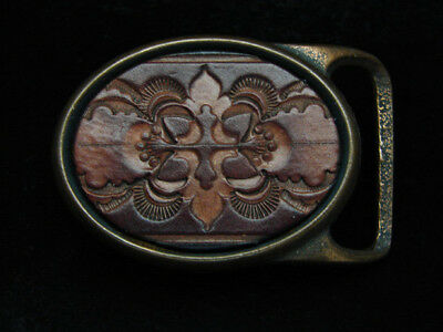 PE15103 VINTAGE 1970s **BAROQUE ORNAMENTAL** ART LEATHER SOLID BRASS BUCKLE