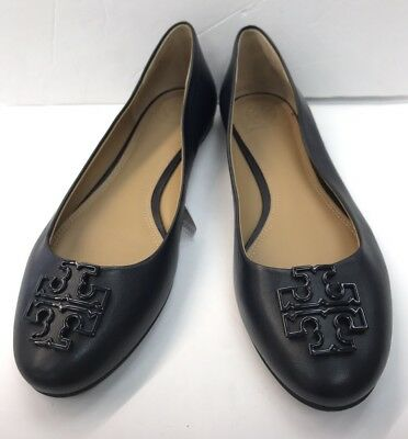 5e18ae3daec5 NEW TORY BURCH Melinda Leather Flats Shoes Ballerina navy blue Size ...