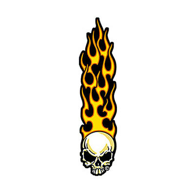 Long Flaming Skull Embroidered Patch