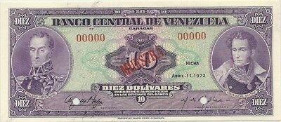 VENEZUELA 1972 10 BOLIVARES ~ SPECIMEN NOTE ~ P-51a-1 ~CHOICE CRISP UNCIRCULATED