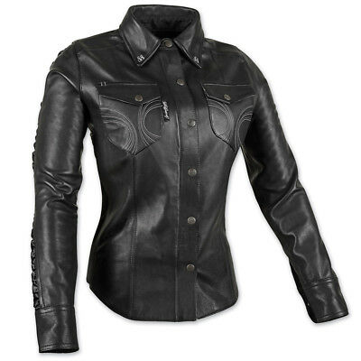Speed and Strength Women's Black Heart Black Leather Moto Shirt, S