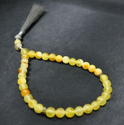 12gr Antique Genuine Baltic Egg Yolk Amber Round Beads Rosary Beautiful