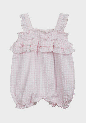 NEW BABY GIRLS BABALUNO PINK /& WHITE SUMMER FRILLY ROMPER 100/% COTTON 6-12M